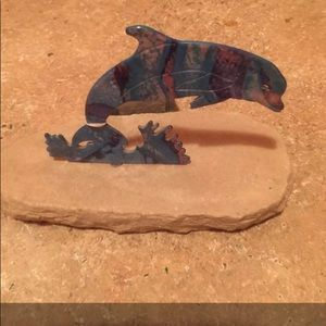 """Metal Dolphin Pc on Sandstone 7""""lx4 1/2""""t"""